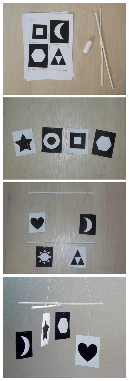 Móvil bebé blanco y negro - Montessori en Casa