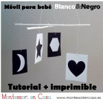 "Móvil de bebé ""Contrastes en Blanco & Negro"" (Imprimible y tutorial) – ""Black & White Contrast"" baby mobile (printable and DIY)"