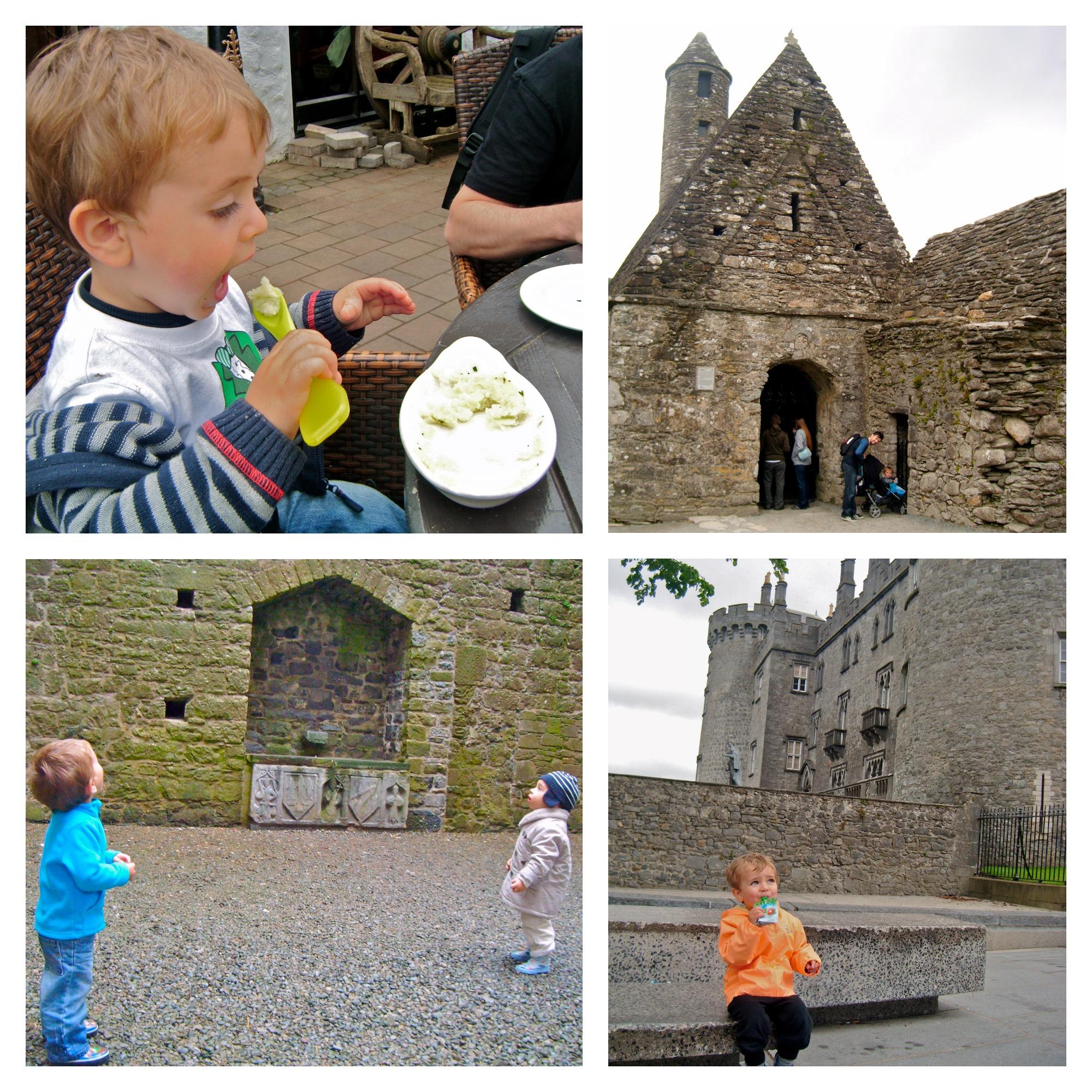 1.Comiendo Irish mashed potato, 2.Glendalough, 3.Cashel Rock, 4.Kilkeny Castle