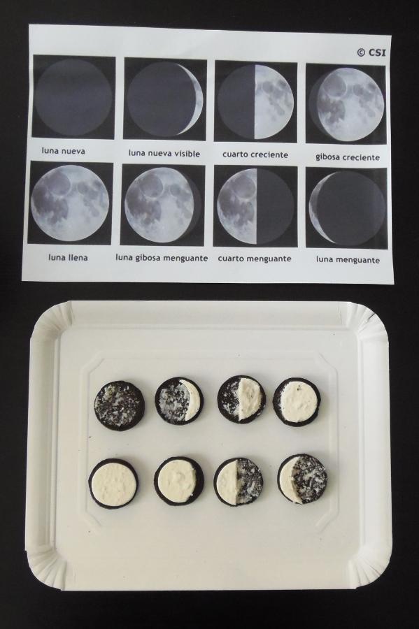 Montessori en Casa - Fases Luna galletas Oreo