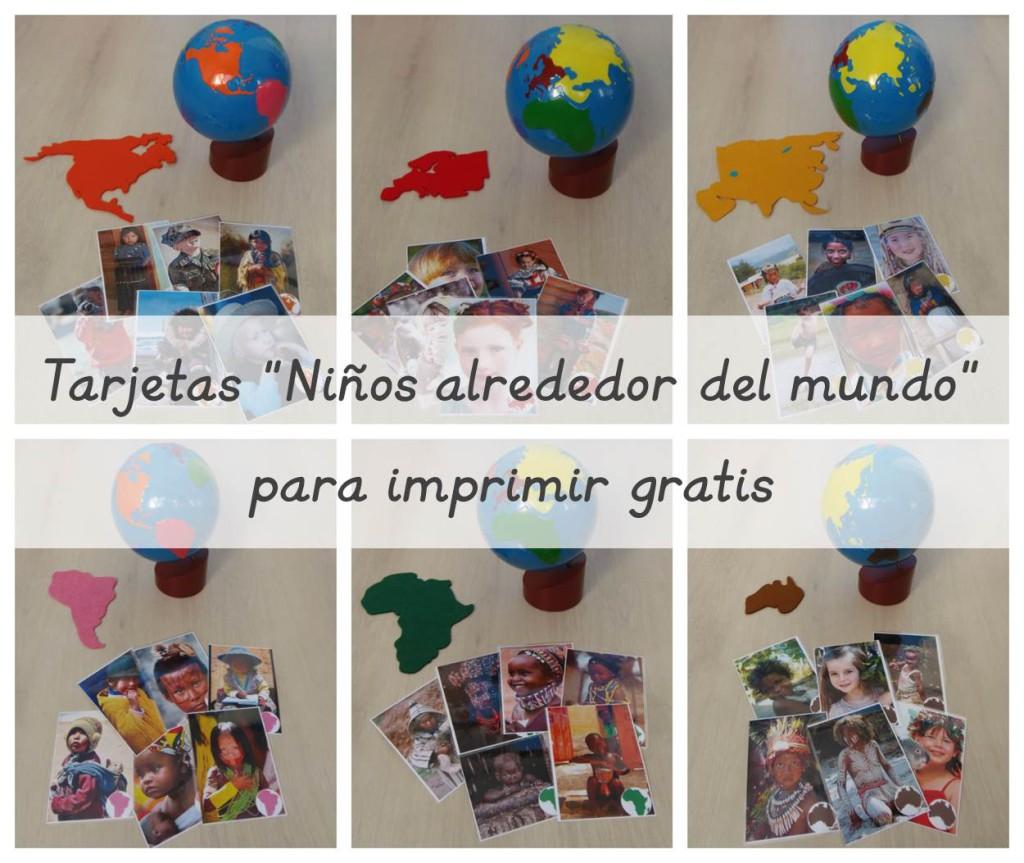 Tarjetas Niños del mundo imprimible gratis